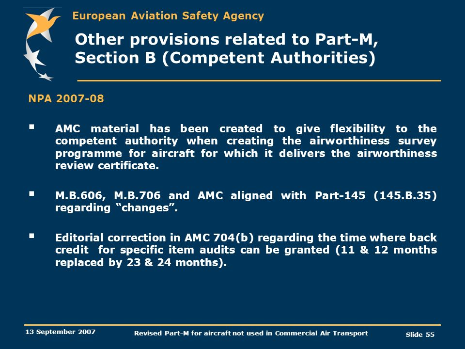 Other provisions related to Part-M, Section B (Competent Authorities)