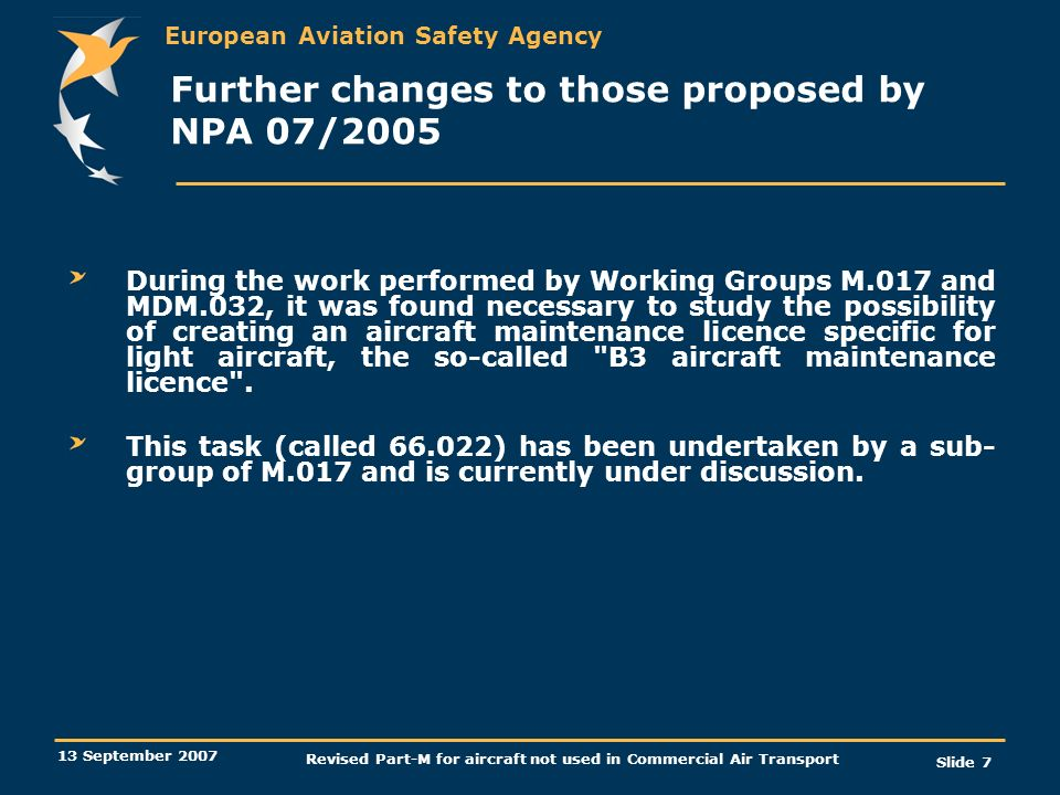 Further changes to those proposed by NPA 07/2005