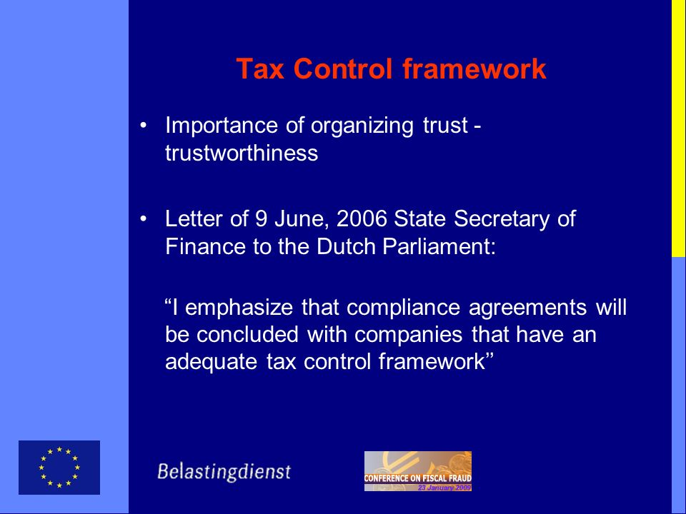 Tax Control framework Importance of organizing trust - trustworthiness