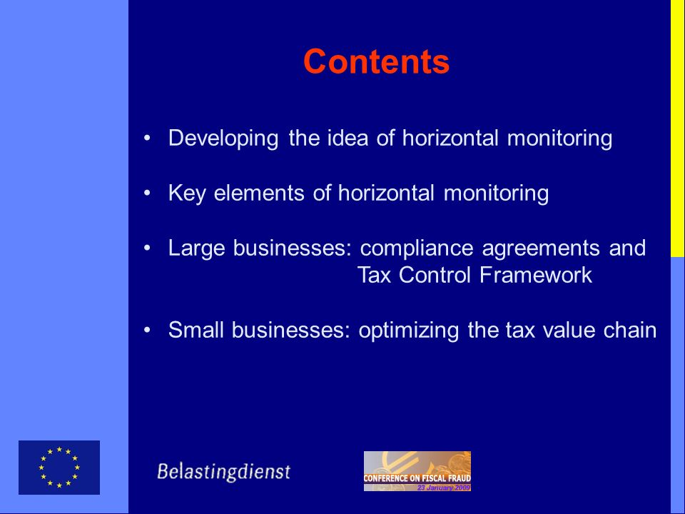 Contents Developing the idea of horizontal monitoring