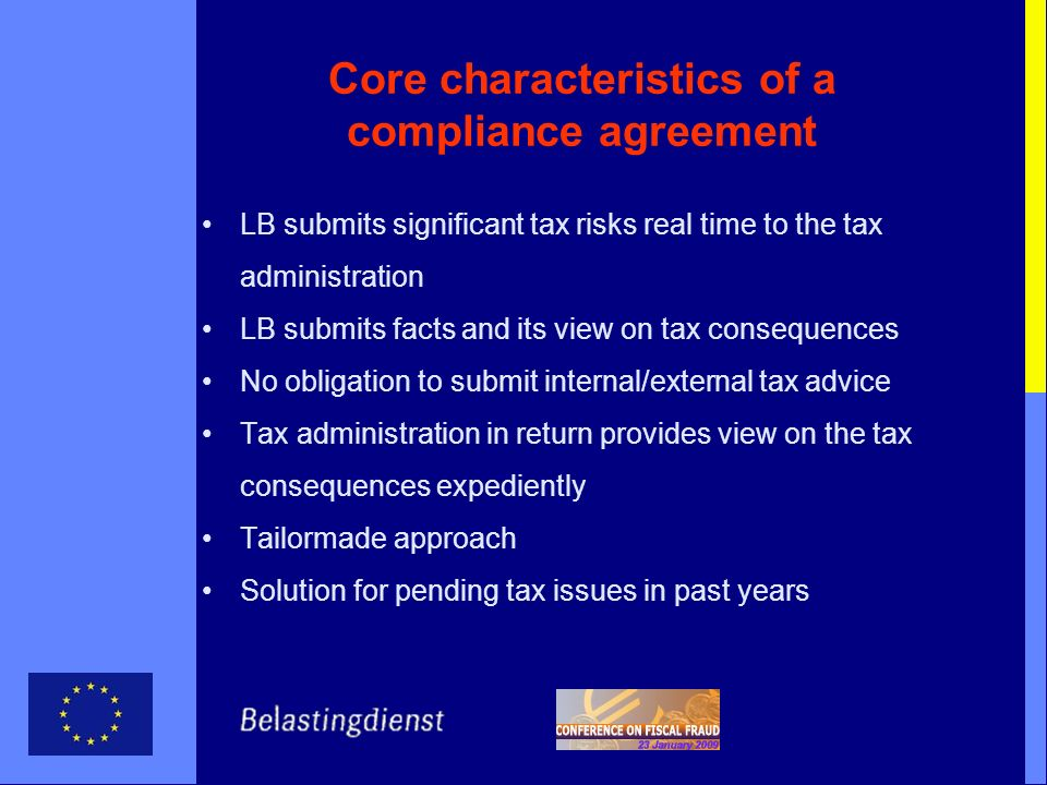Core characteristics of a compliance agreement