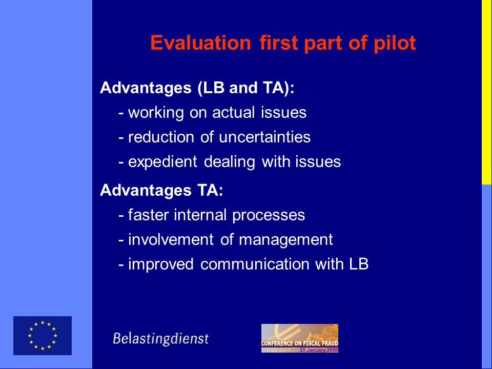 Evaluation first part of pilot