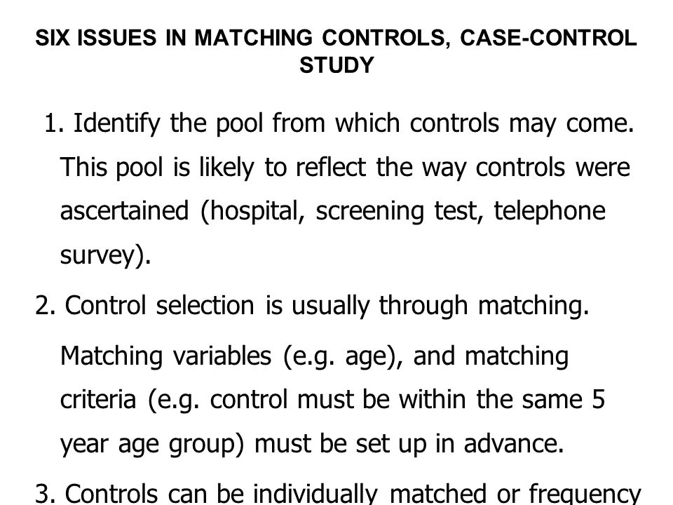 Why match in case-control studies?