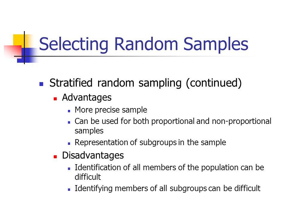 random sampling advantages and disadvantages pdf