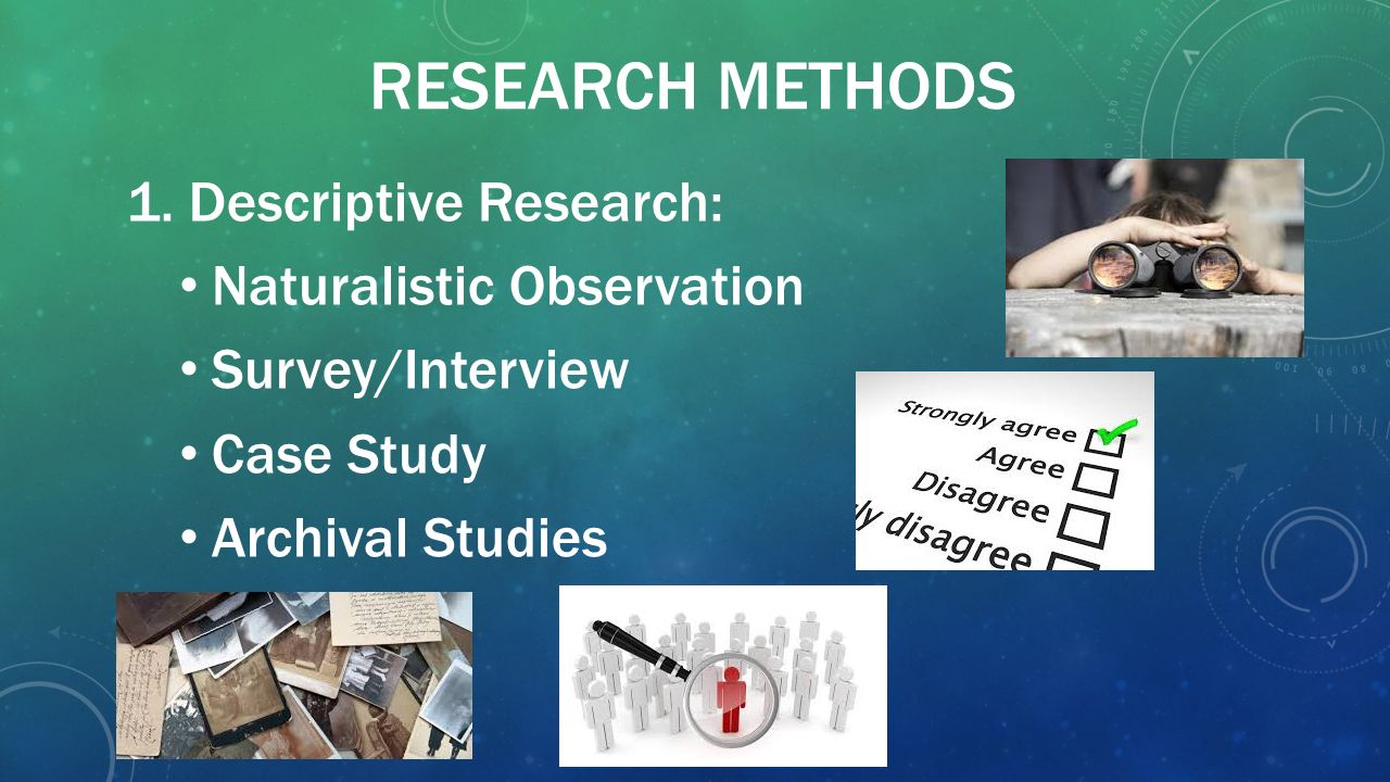 descriptive research methods Learning objectives differentiate the goals of descriptive, correlational, and experimental research designs and explain the advantages and disadvantages of each.