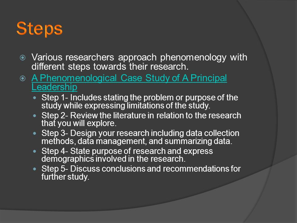 phenomenology research definition Descriptive phenomenological psychological method  the descriptive phenomenological method provides the  research that holds husserlian phenomenology as its.