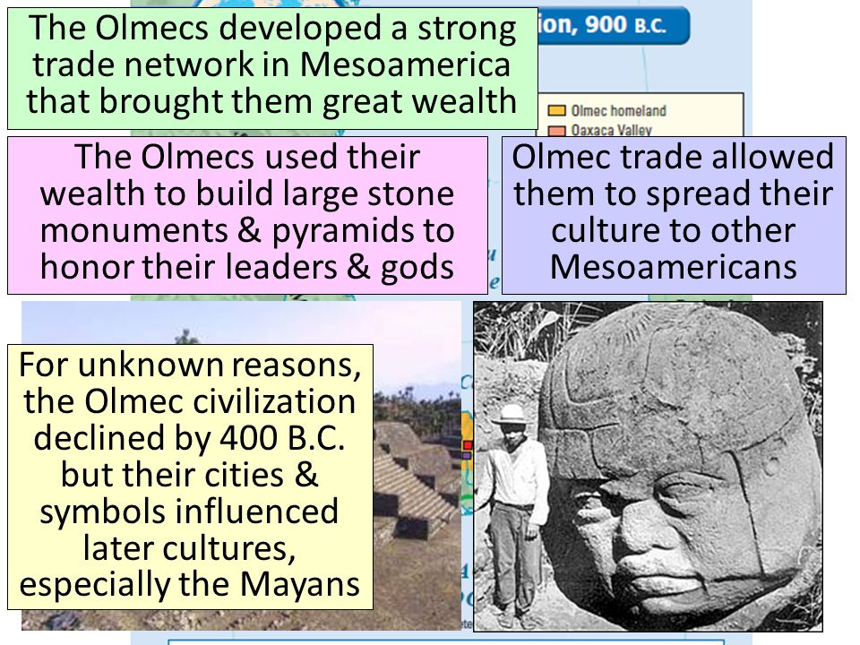 The Olmecs The Olmecs developed a strong trade network in Mesoamerica that brought them great wealth.