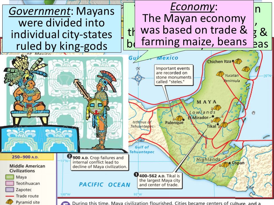 Economy: The Mayan economy was based on trade & farming maize, beans