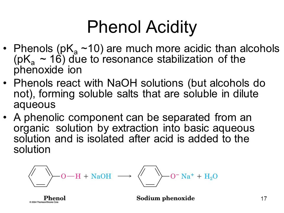 chapter 17 alcohols and phenols Chapter 17- alcohols and phenols alcohols and phenols • alcohols contain an oh group connected to a a saturated c (sp3) • they are important solvents and synthesis intermediates • phenols contain an oh group connected to a carbon in a benzene ring.