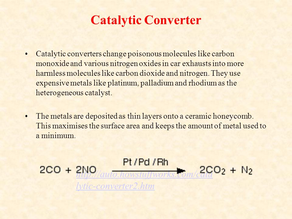 what are catalytic converters essay What is a catalytic converter catalytic converters are a crucial component of your car's exhaust system they're located under the car and attached to the exhaust pipe, typically with bolts their job is converting toxic fuel emissions into less toxic pollutants before they exit the car through the muffler.