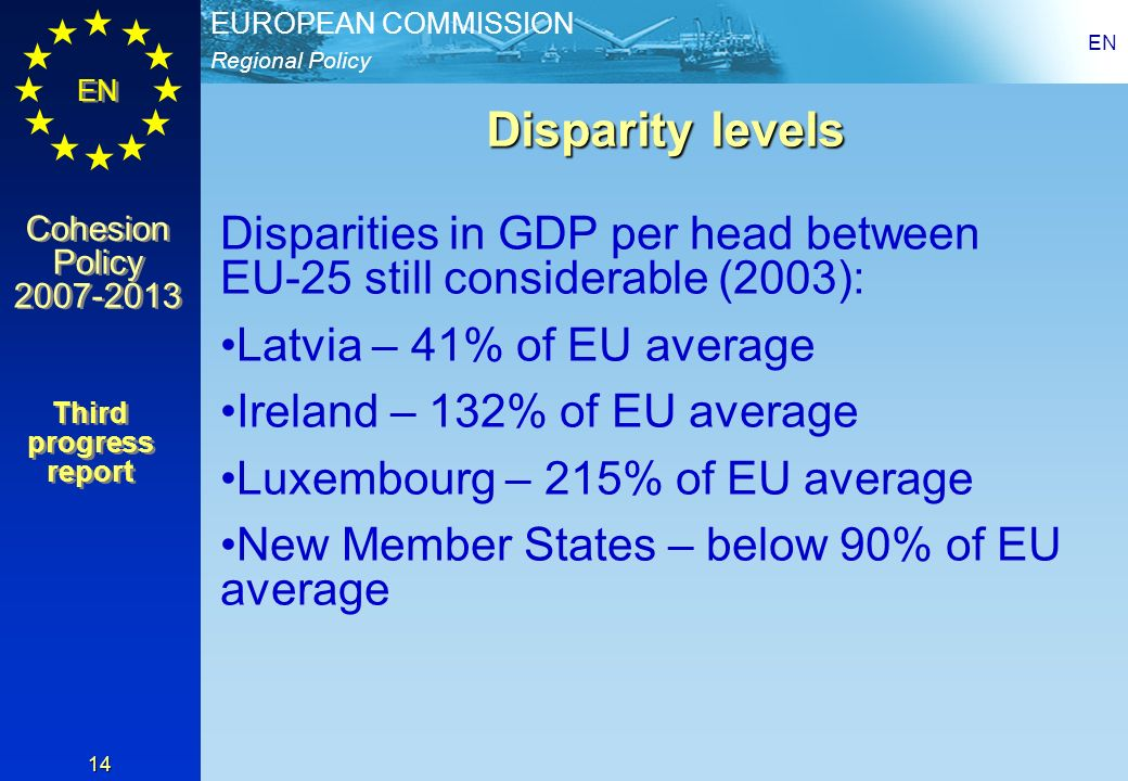 EN Disparity levels. Disparities in GDP per head between EU-25 still considerable (2003): Latvia – 41% of EU average.