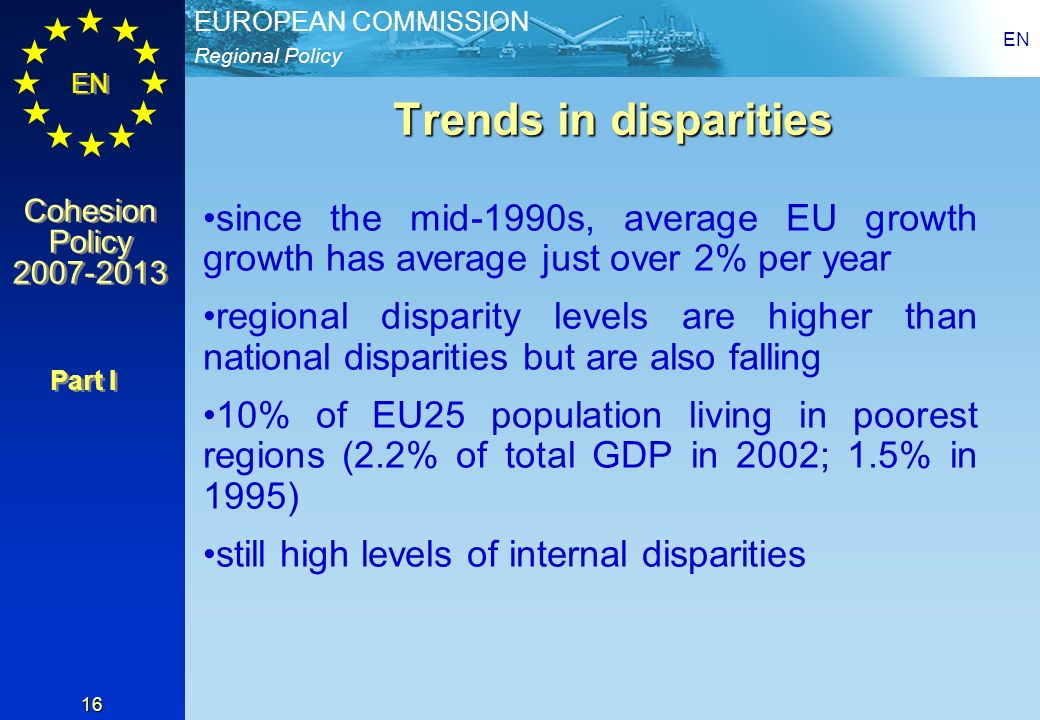 EN Trends in disparities. since the mid-1990s, average EU growth growth has average just over 2% per year.