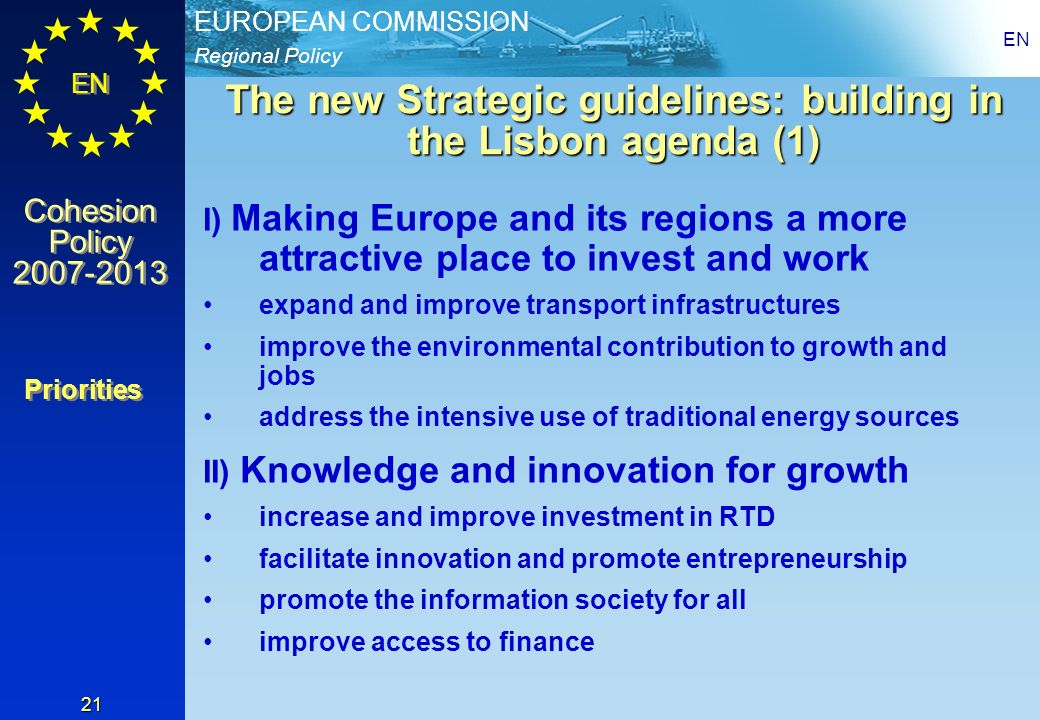 The new Strategic guidelines: building in the Lisbon agenda (1)