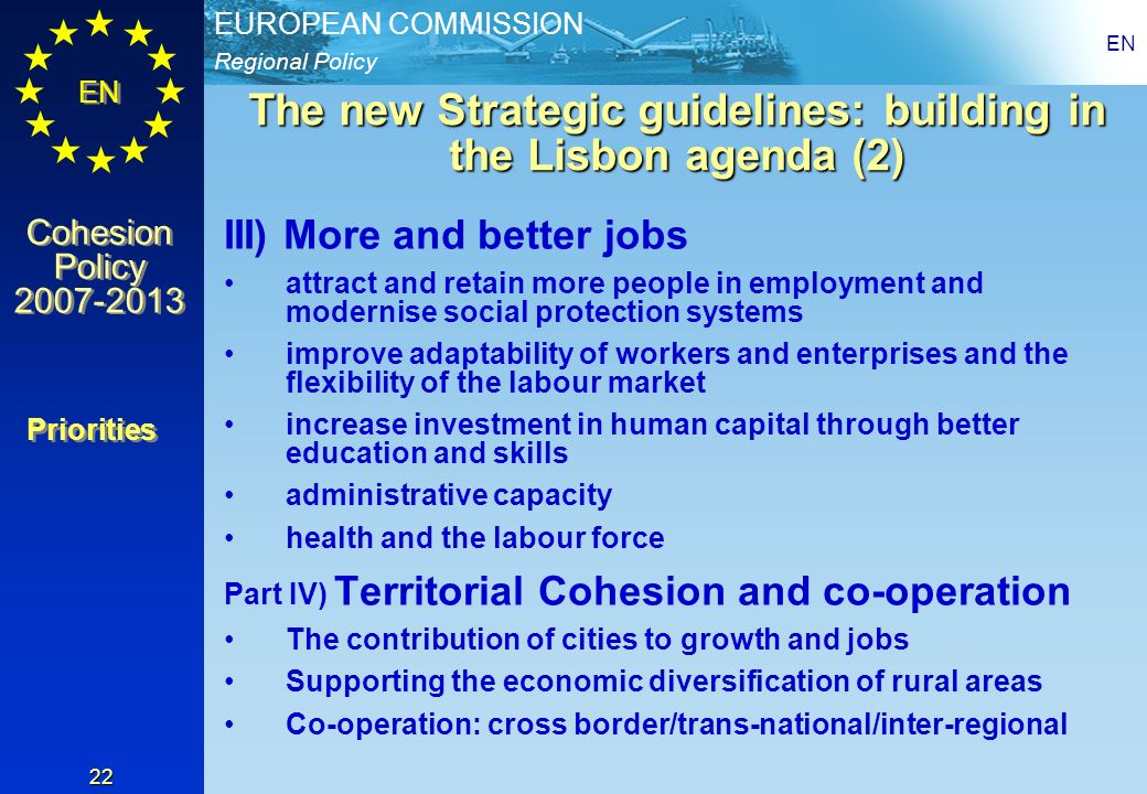 The new Strategic guidelines: building in the Lisbon agenda (2)