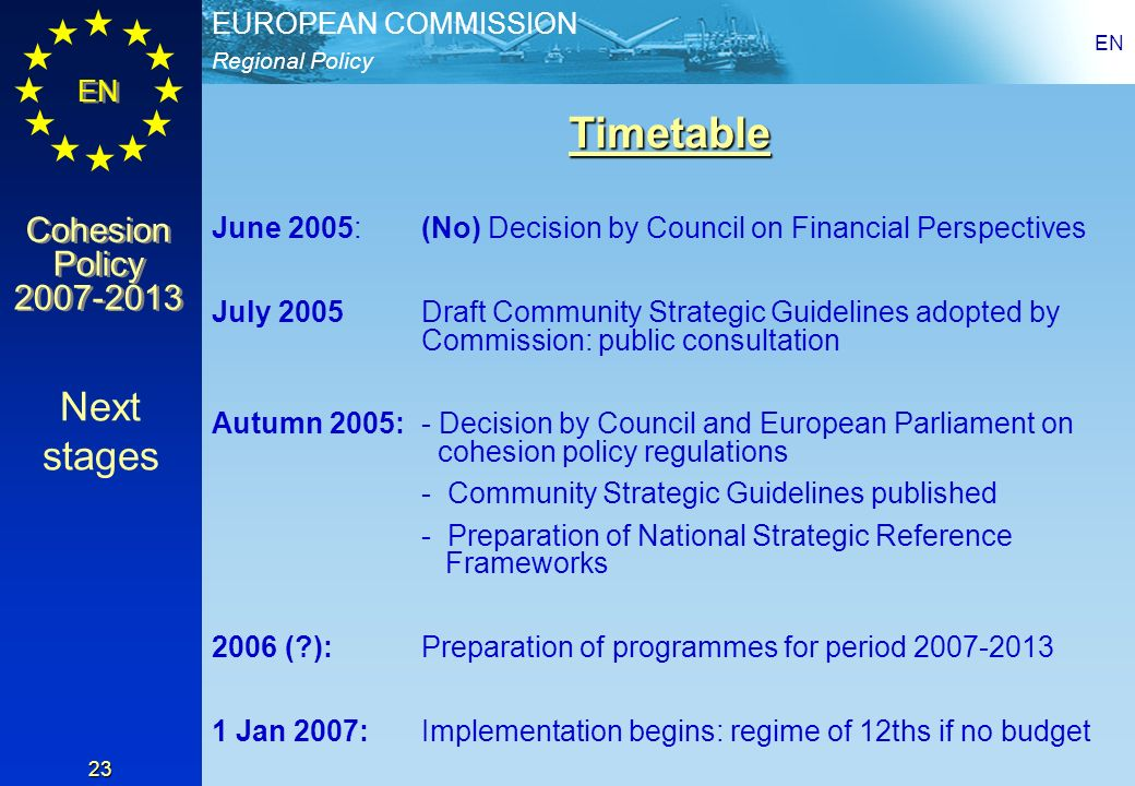 EN Timetable. June 2005: (No) Decision by Council on Financial Perspectives.