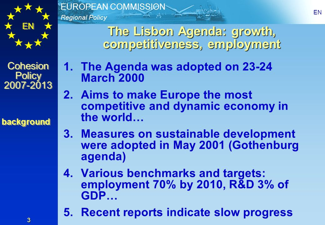 The Lisbon Agenda: growth, competitiveness, employment