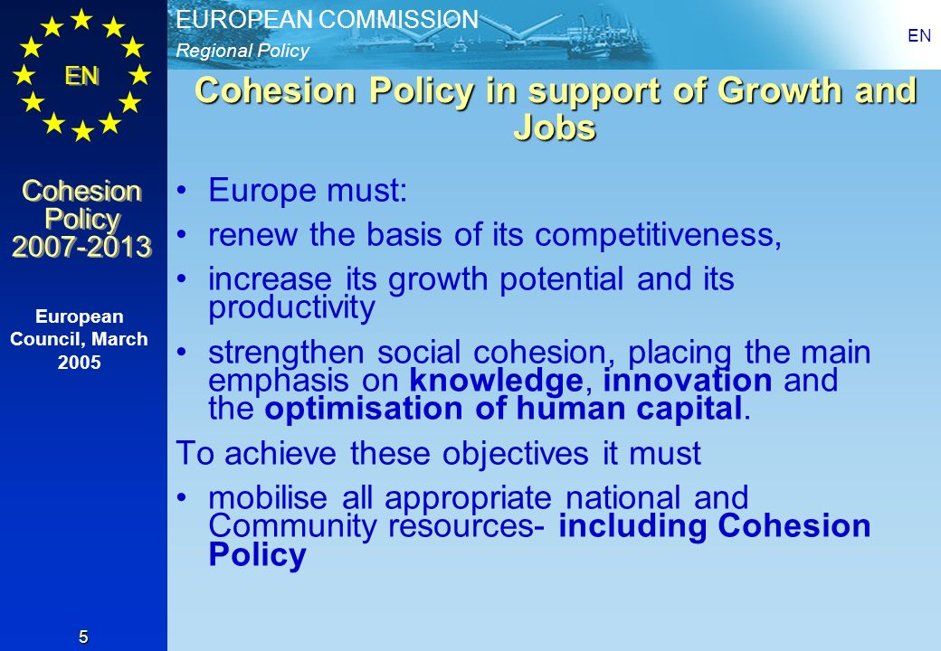Cohesion Policy in support of Growth and Jobs