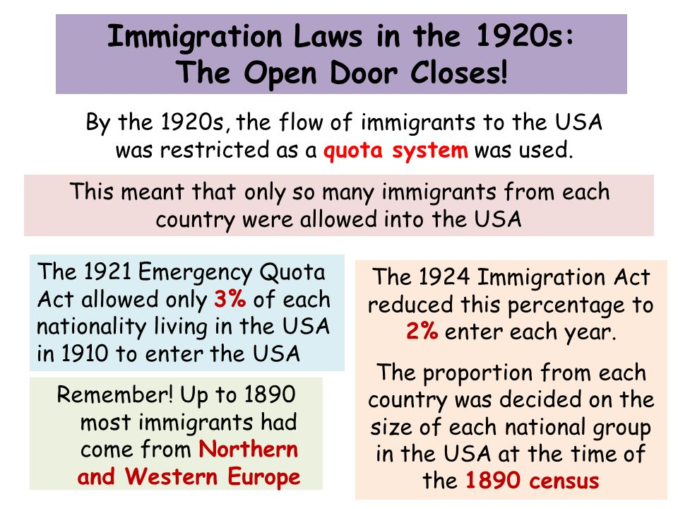 immigration laws 1890 1925 Records of the immigration and naturalization service congress enacted a series of laws intending to restrict immigration into the united sc, 1890 -1924 (26.