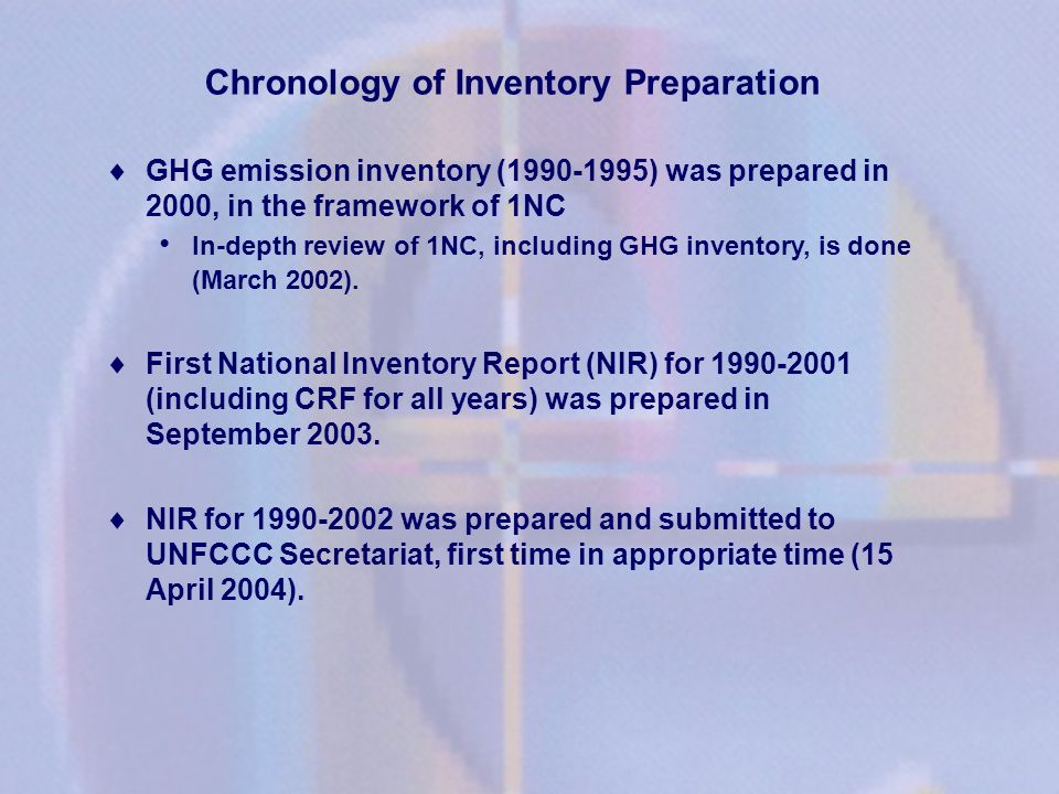 Chronology of Inventory Preparation