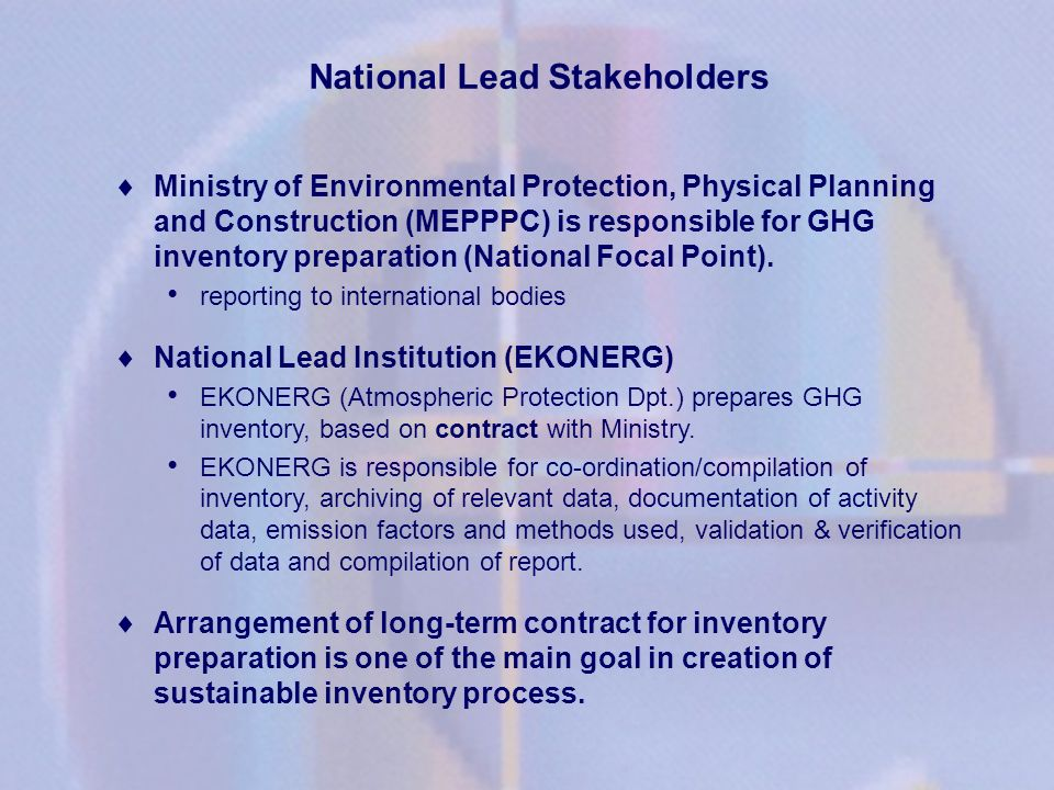 National Lead Stakeholders