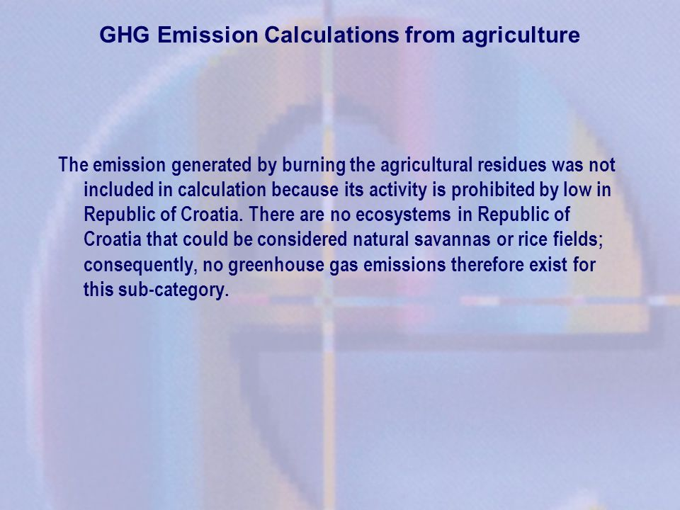 GHG Emission Calculations from agriculture