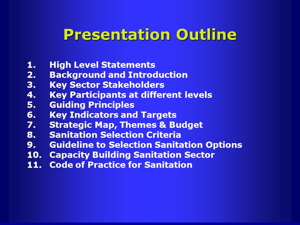 Presentation Outline High Level Statements Background and Introduction