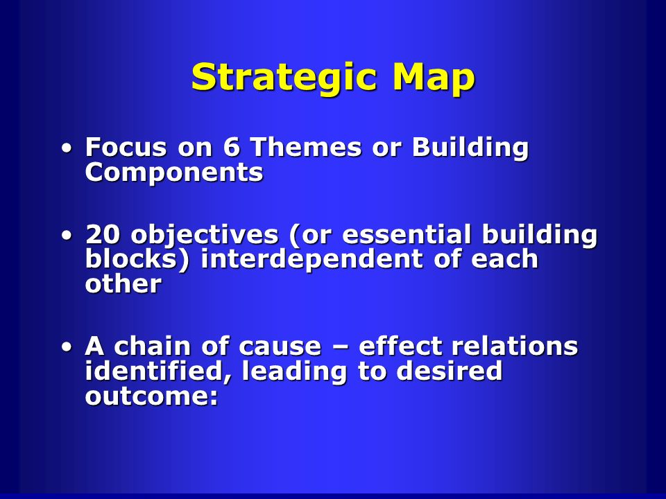 Strategic Map Focus on 6 Themes or Building Components