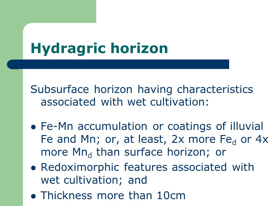 Hydragric horizon Subsurface horizon having characteristics associated with wet cultivation: