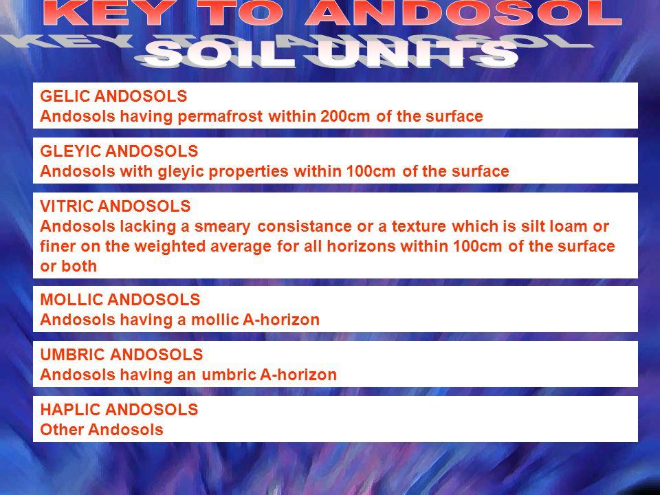 KEY TO ANDOSOL SOIL UNITS GELIC ANDOSOLS
