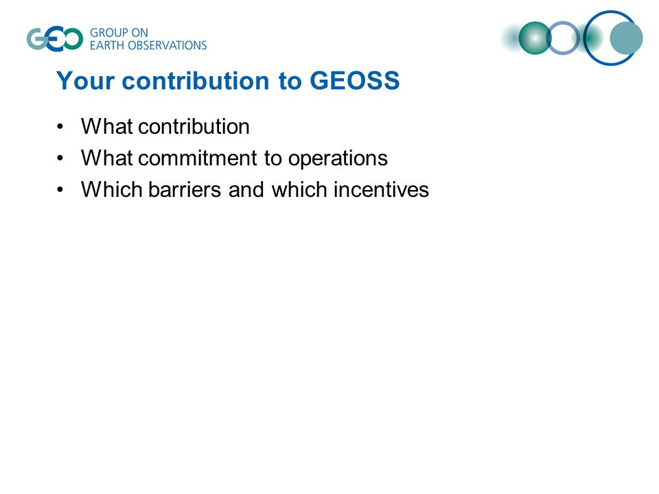 Your contribution to GEOSS