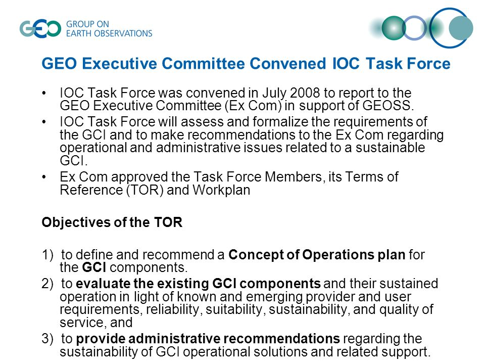 GEO Executive Committee Convened IOC Task Force
