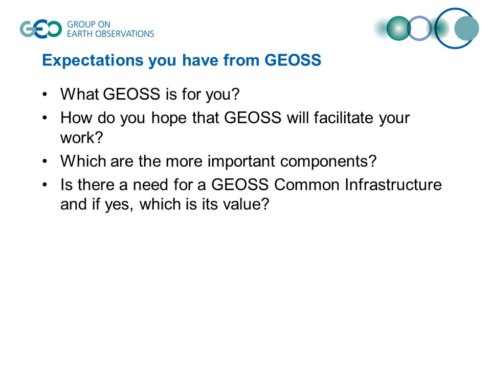 Expectations you have from GEOSS