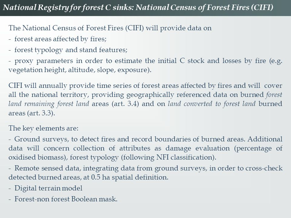 National Registry for forest C sinks: National Census of Forest Fires (CIFI)