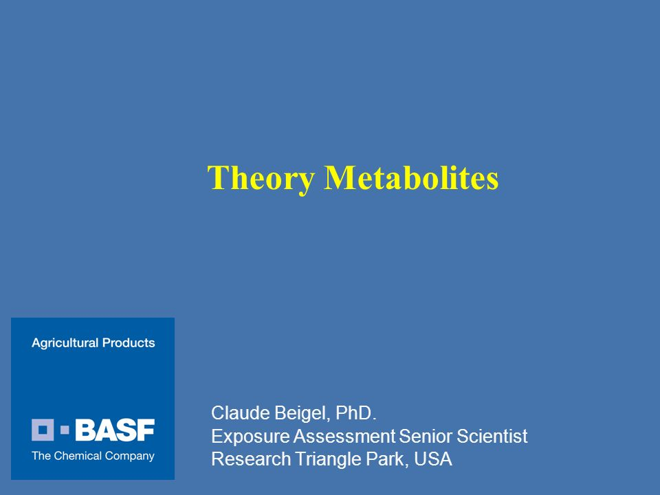 Theory Metabolites Claude Beigel, PhD.