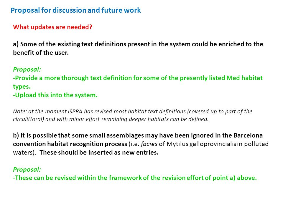 Proposal for discussion and future work