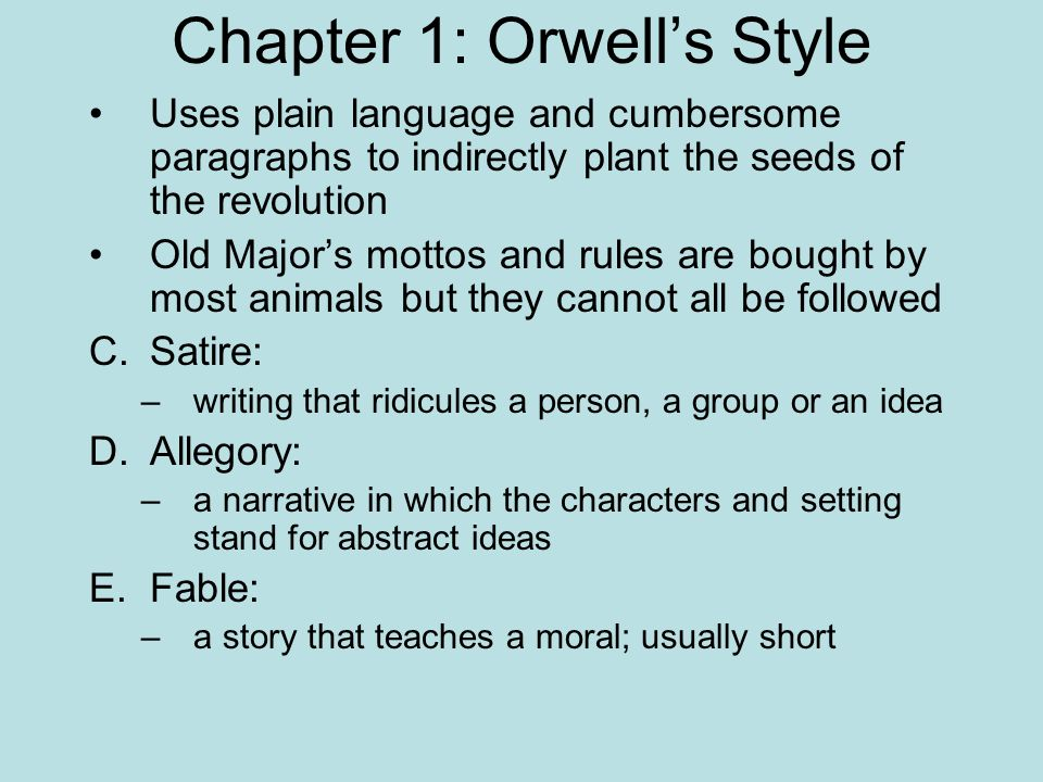 the plot summary of animal farm an allegorical novella by george orwell Get free homework help on george orwell's animal farm: book summary,  but the animals — inspired by his philosophy of animalism — plot a  no animal shall.