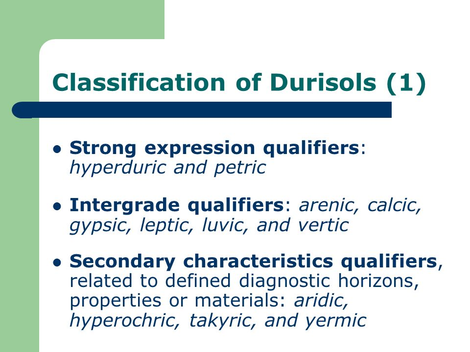Classification of Durisols (1)