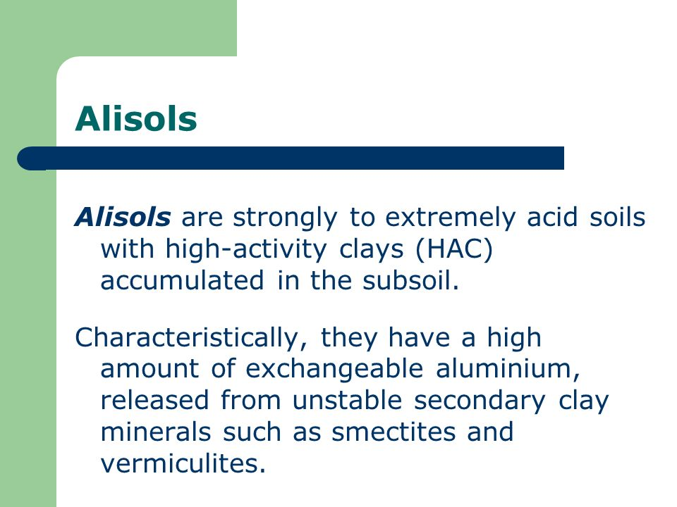 Alisols Alisols are strongly to extremely acid soils with high-activity clays (HAC) accumulated in the subsoil.
