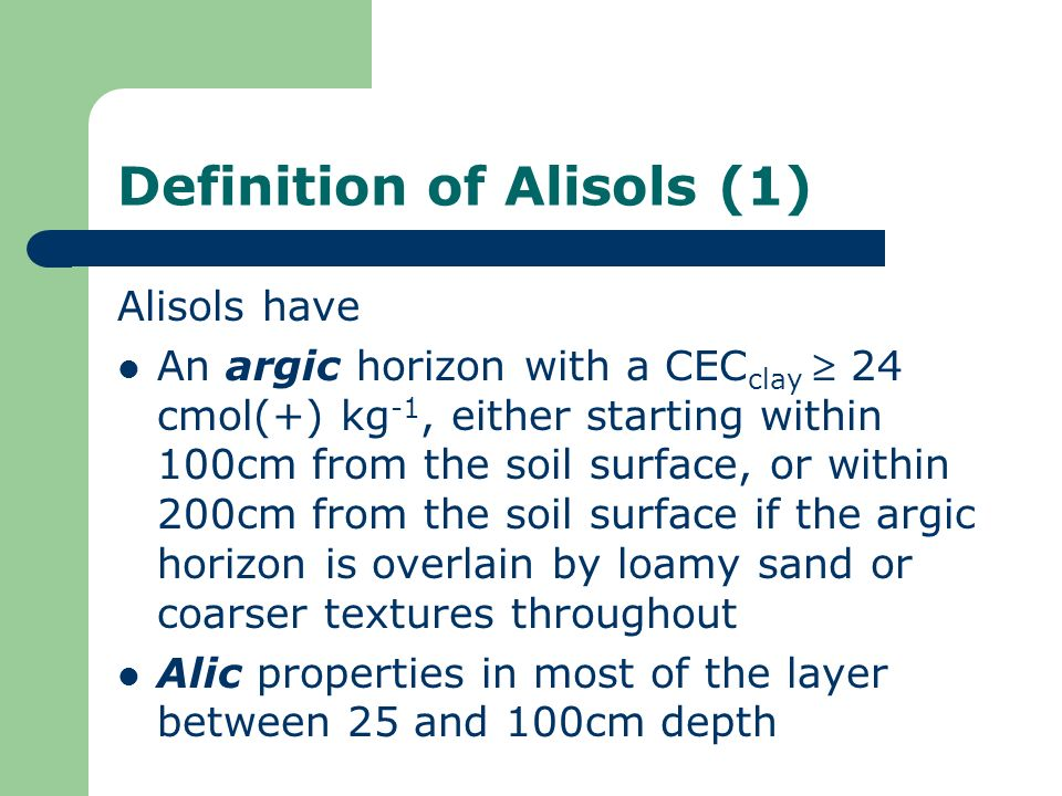 Definition of Alisols (1)