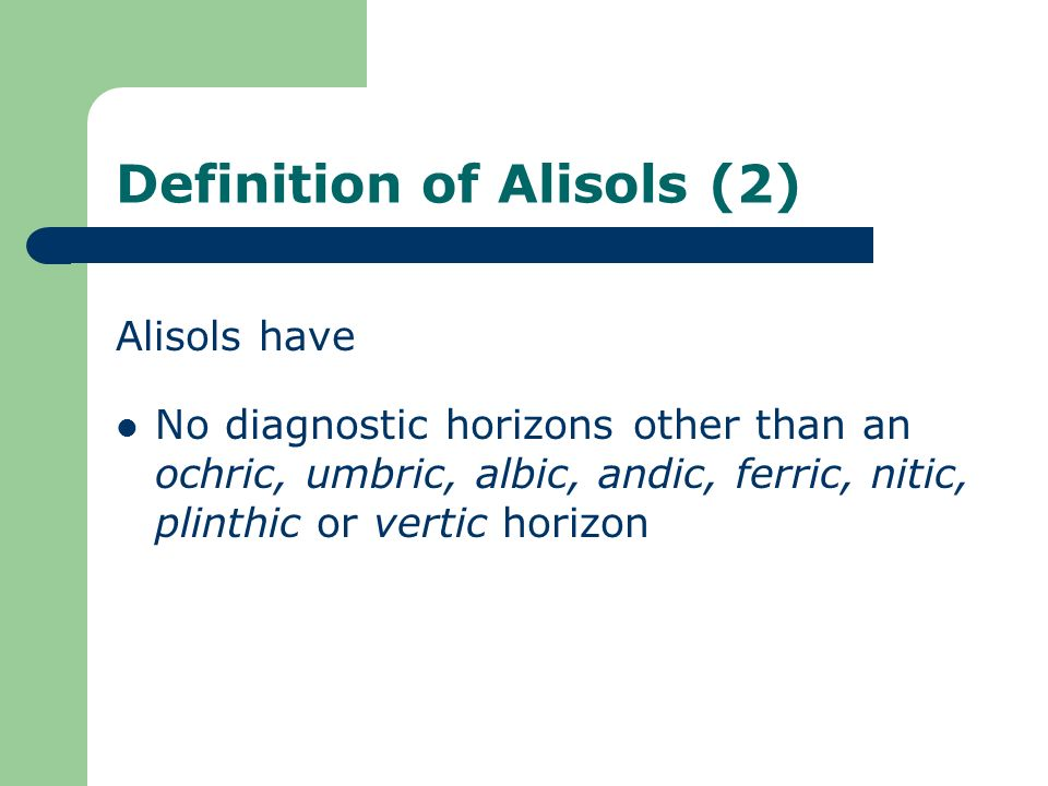 Definition of Alisols (2)