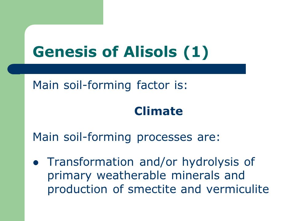 Genesis of Alisols (1) Main soil-forming factor is: Climate