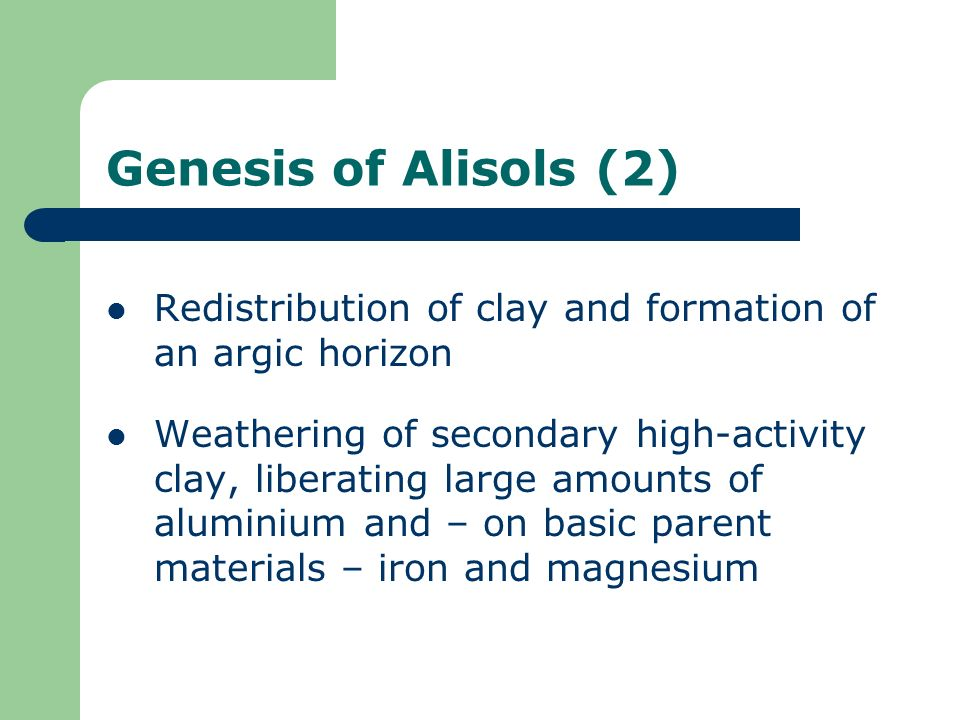 Genesis of Alisols (2) Redistribution of clay and formation of an argic horizon.