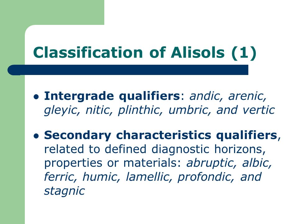 Classification of Alisols (1)