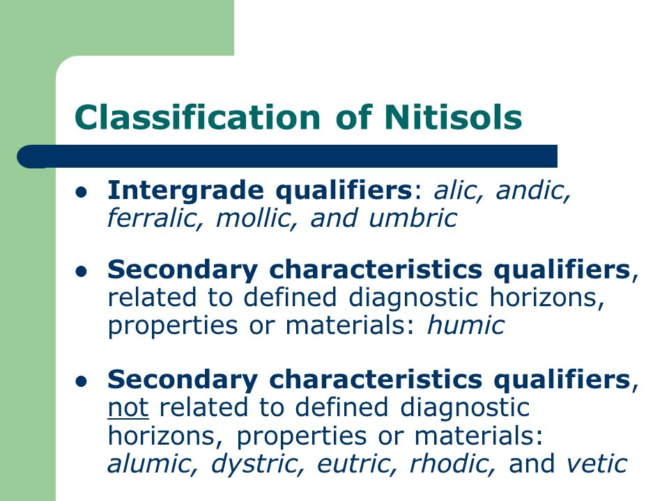 Classification of Nitisols