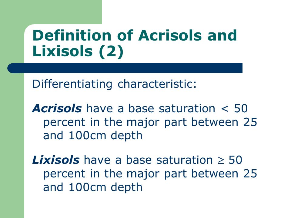 Definition of Acrisols and Lixisols (2)