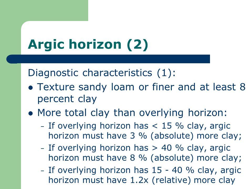 Argic horizon (2) Diagnostic characteristics (1):