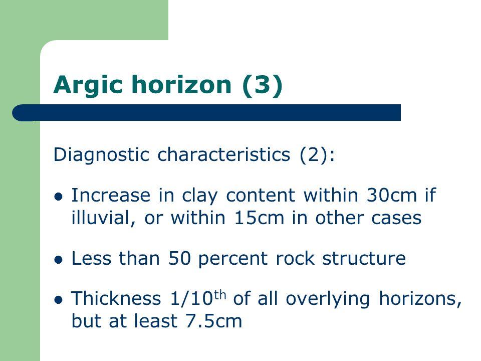 Argic horizon (3) Diagnostic characteristics (2):