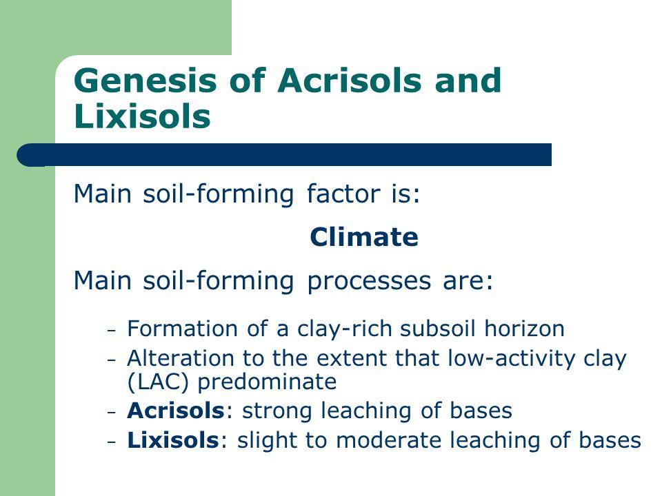 Genesis of Acrisols and Lixisols