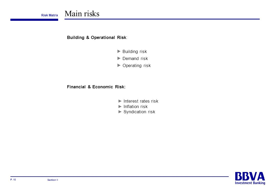 Main risks Building & Operational Risk: Building risk Demand risk