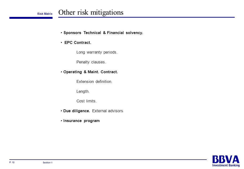 Other risk mitigations